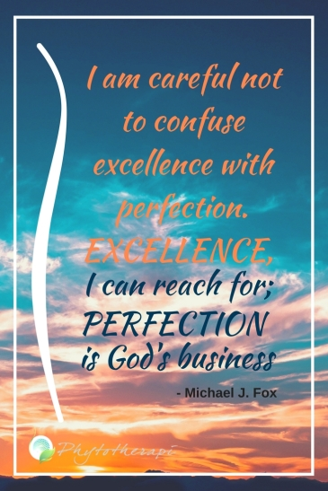 I am careful no to confuse excellance with perfection.